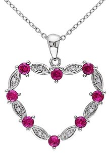 Sterling Silver Diamond 1 13 Ct Tgw Ruby Love Heart Pendant Necklace Gh I2i3