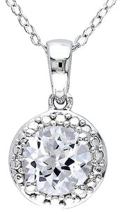 Other Sterling Silver 1 58 Ct Tgw White Sapphire Fashion Pendant Necklace With Chain