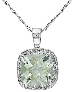 Other 10k White Gold 110 Ct Diamond 2 58 Ct Green Amethyst Pendant Necklace Chain