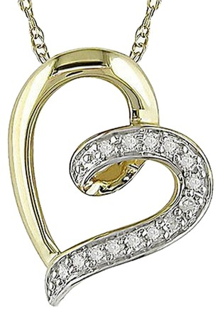 Other 10k Yellow Gold Diamond Heart Lovependant Necklace With Chain Gh I2-i3