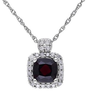 Other 10k White Gold 110 Ct Diamond 58 Ct Garnet Fashion Pendant Necklace