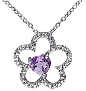 Other Sterling Silver 58 Ct Tgw Amethyst Flower Nature Heart Love Pendant Necklace