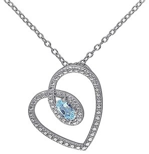 Sterling Silver 13 Ct Tgw Sky Blue Topaz Fashion Love Heart Pendant Necklace