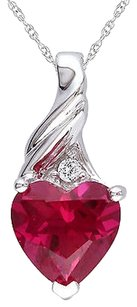 Other 10k White Gold Ruby And Diamond Heart Love Pendant Necklace Tdw .015 Ct