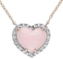 Sterling Silver Diamond And Opal Heart Love Shaped Pendant Necklace W Chain