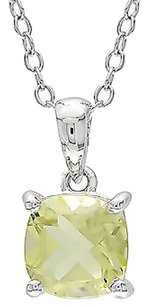 Other Sterling Silver 1 Ct Tgw Lemon Quartz Solitaire Pendant Necklace 18 Neckalce