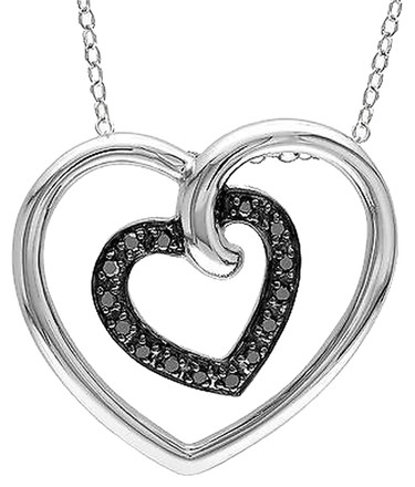 Other Sterling Silver 16 Ct Tw Black Diamond Heart In Heart Pendant Two Tone Necklace