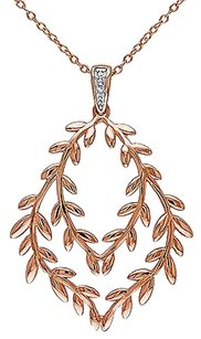 Two-tone Sterling Silver Diamond Leaf Chandeleir Pendant Necklace G-h Si3