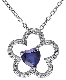 Other Sterling Silver 1 Ct Blue Sapphire Flower Nature Heart Love Pendant Necklace