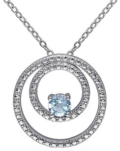 Other Sterling Silver 13 Ct Sky Blue Topaz Circle-in-circle Geoetric Pendant Necklace