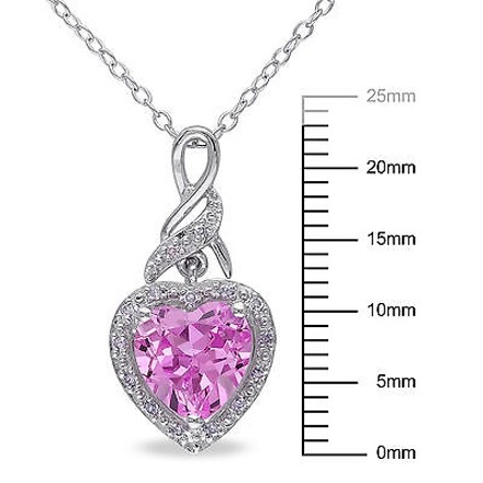 Other Sterling Silver 2.31 Ct Tw Diamond Pink Sapphire Heart Love Pendant Necklace