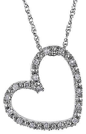 Other 10k White Gold 110 Ct Diamond Tw Love Heart Pendant With Chain Gh I2i3