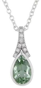 Other Sterling Silver Green Amethyst Accent Diamond Pendant 1.25 Ct Hi I3 18 Necklace