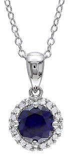 Other Sterling Silver 1.09 Ct Tw Diamond And Blue Sapphire Pendant With Chain Gh I3