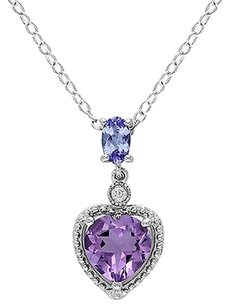 Sterling Silver Diamond And 1 14 Ct Tanzanite Amethyst Love Heart Pendant