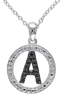 Sterling Silver Black Diamnd Initials A Tone Pendant Necklace With Chain