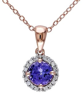 Other Sterling Silver 1.08 Ct Tw Diamond And Tanzanite Pendant W Chain Pink Gh I2i3