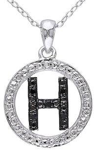 Sterling Silver Black Diamnd Initials H Tone Pendant Necklace With Chain