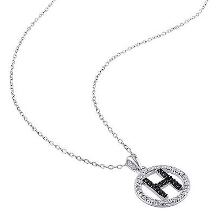 Other Sterling Silver Black Diamnd Initials H Tone Pendant Necklace With Chain