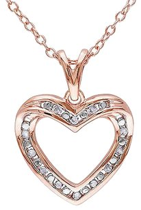 Rose Sterling Silver 110 Ct Diamond Tw Heart Pendant Necklace With Chain I3