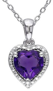 Other Sterling Silver 1 Ct Tgw Amethyst Heart Love Fashion Pendant Necklace
