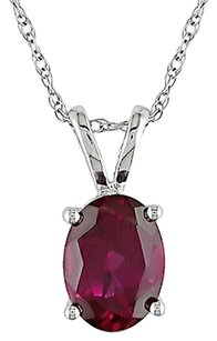 Other 10k White Gold 2 Ct Tgw Ruby Fashion Pendant Necklace With Chain