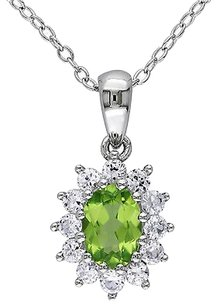Other Sterling Silver 1 13 Ct Peridot Created White Sapphire Pendant Necklace