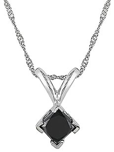 14k White Gold 12 Ct Black Princess Diamond Solitaire Pendant Necklace Chain