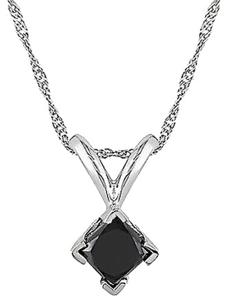Other 14k White Gold 12 Ct Black Princess Diamond Solitaire Pendant Necklace Chain