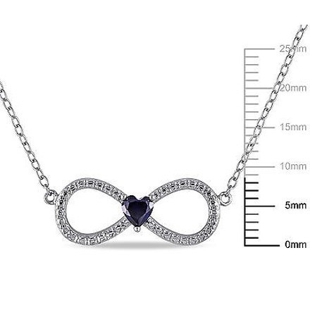 Other Silver 14 Ct Blue Sapphire Infinity Swivel Crossover Heart Pendant Necklace