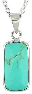 Amour Turquoise Pendant Coushion Shape Necklace 16x8mm In Silver 18 Chain