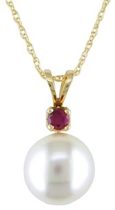 Other 14k Yellow Gold Freshwater White Pearl And Ruby Pendant 8.0-8.5 Mm 17 Chain
