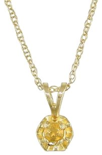 10k Yellow Gold 18 Ct Tgw Citrine Pendant Necklace 17 Chain