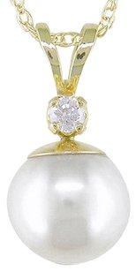 14k Yellow Gold Pendant W 7.5-8 Mm Cultured Pearl .05 Ct Chain