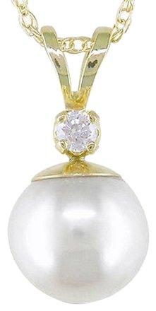 Other 14k Yellow Gold Pendant W 7.5-8 Mm Cultured Pearl .05 Ct Chain