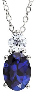 Other Sterling Silver 2.32 Ct Blue And White Sapphire Fashion Pendant With Chain