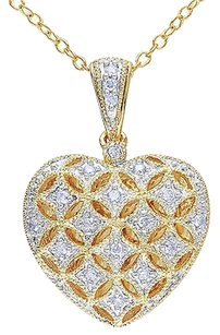 Other Yellow Sterling Silver 17 Ct Diamond Tw Heart Locket Pendant Necklace W Chain