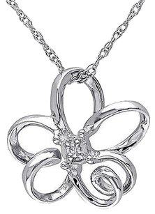 10k White Gold Diamond Flower Pendant Necklace With Chain Gh I1i2