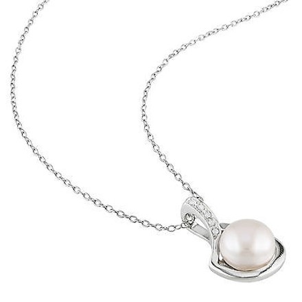 Other Sterling Silver Diamond 9-9.5 Mm Pink Freshwater Pearl Fashion Pendant Necklace