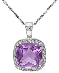 Other 10k White Gold 110 Ct Diamond 2 12 Ct Amethyst Pendant Necklace Chain
