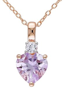 Other Pink Sterling Silver 1 45 Ct Rose De France Sapphire Heart Pendant Necklace
