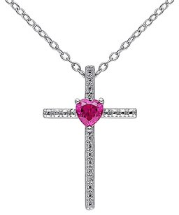Sterling Silver 14 Ct Tgw Created Ruby Fashion Religious Pendant Necklace