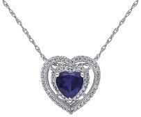10k White Gold 15 Ct Diamond And 78 Ct Blue Sapphire Heart Love Pendant Chain