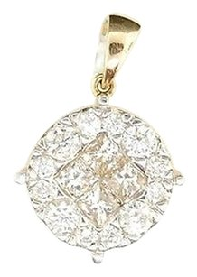 Diamond Princess Cut Pendant Ladies 14k Yellow Gold Round Circle Charm 2 Tcw.
