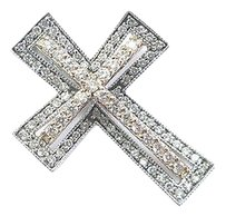 Fine 18kt-14kt Round Cut Diamond 2-tone Gold Cross Pendant .54ct