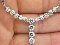Other Fine Round Cut Diamond Bezel Set 14-stone White Gold Necklace 4.20ct 17.5