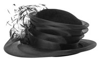 Peter Bettley Black Rabbit Fur Felt Feather Net Detail Hat