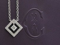 Philippe Charriol Diamond Square Necklace Wg .23ct