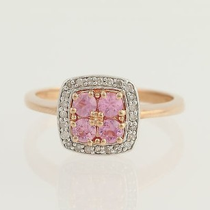 Pink Sapphire Diamond Halo Ring - 10k Rose Gold 0.80ctw Engagement Fashion