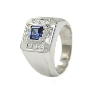 Pinky Ring 14k Gold 1.44ct Princess Cut Diamond G Si1 Man Made Sapphire Mens